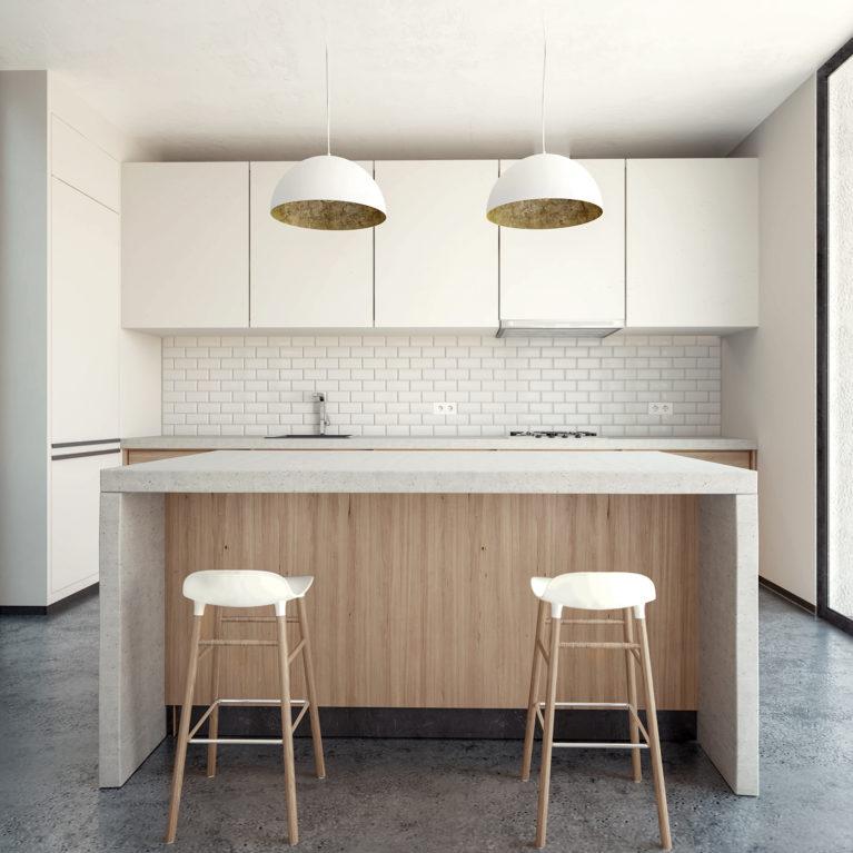 aqso arquitectos office, cocina diáfana, encimera de hormigón, cocina con isla, taburetes de madera, lámparas de techo de latón, suelo de hormigón pulido, puertas correderas de suelo a techo, azulejos biselados, muebles de cocina blancos