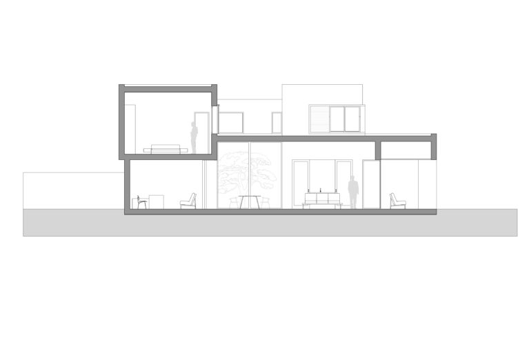 aqso arquitectos office, section, courtyard house, technical drawing, living room, ceiling heights, windows, elevation, villa, singe family house
