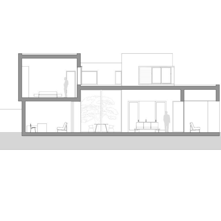 aqso arquitectos office, sección, casa patio, dibujo técnico, salón comedor, altura de techo, ventanas, alzado, casa, vivienda unifamiliar