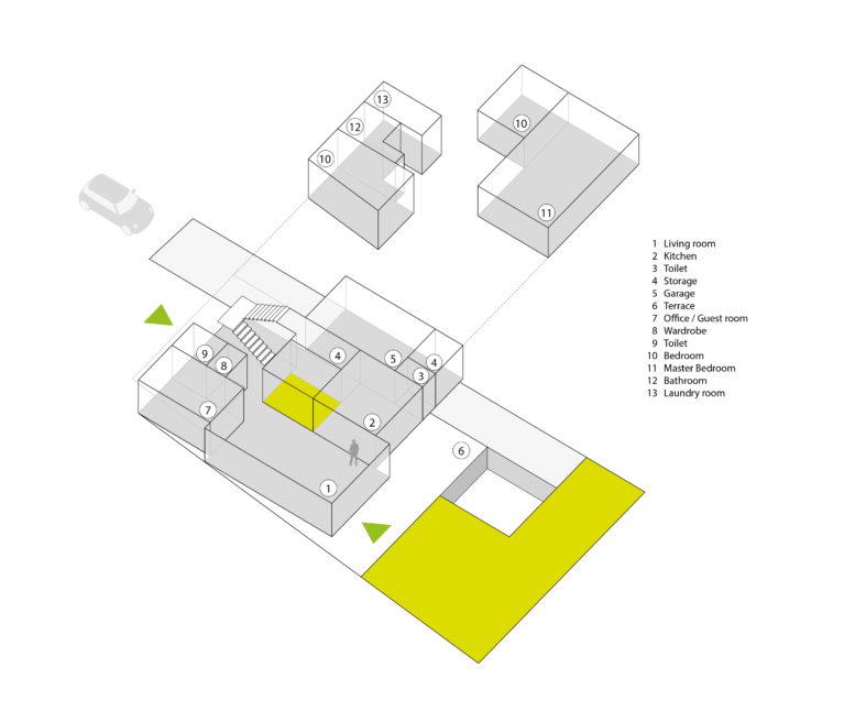 aqso arquitectos office, casa, vivienda, vista axonométrica, diagrama espacial, usos, forma y función, puntos de acceso, garaje, jardín trasero