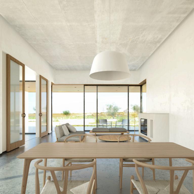 aqso arquitectos office, diseño interior confortable, atmósfera tranquila y cálida, diseño sostenible, patio como regulador térmico, estudio de la incidencia de sol, orientación