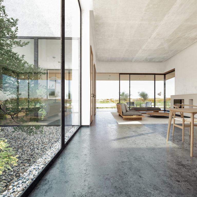aqso arquitectos office, casa patio, olivo, espacio de salón diáfano, espacio de doble altura, comedor y salón, grandes ventanales, techo de hormigón, conexión con la naturaleza y el paisaje, bienestar