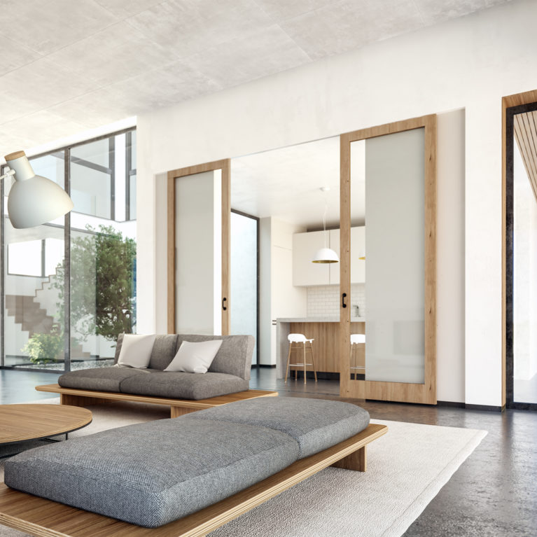 aqso arquitectos office, residential interior design, grey upholstery, concrete floor, oak timber, glass sliding doors, plywood sofa, summer house, casual furniture, open kitchen