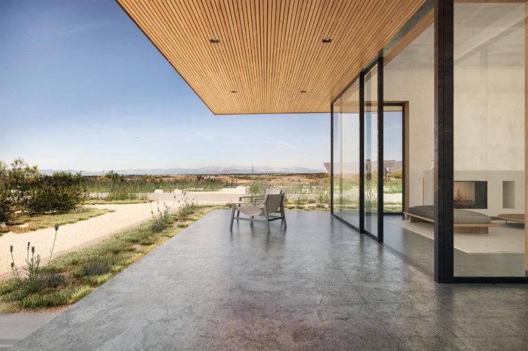 aqso arquitectos office, voladizo, porche, salón abierto al exterior, mirador, hormigón pulido, techo de listones de madera, resina exterior, espacioso, cómodo, vista del paisaje