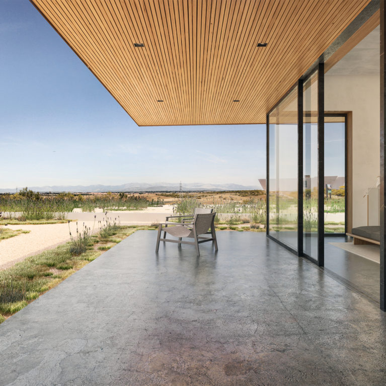 aqso arquitectos office, cantilever, canopy, open living room, viewpoint, polished concrete, timber slatting, external grade, spacious, comfortable, landscape view