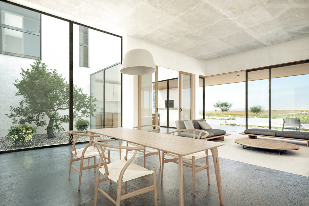 aqso arquitectos office, courtyard house, olive tree, living room, dining, open plan, concrete floor, asian inspired chairs, light and architecture, big glazing, sliding doors, madrid landscape
