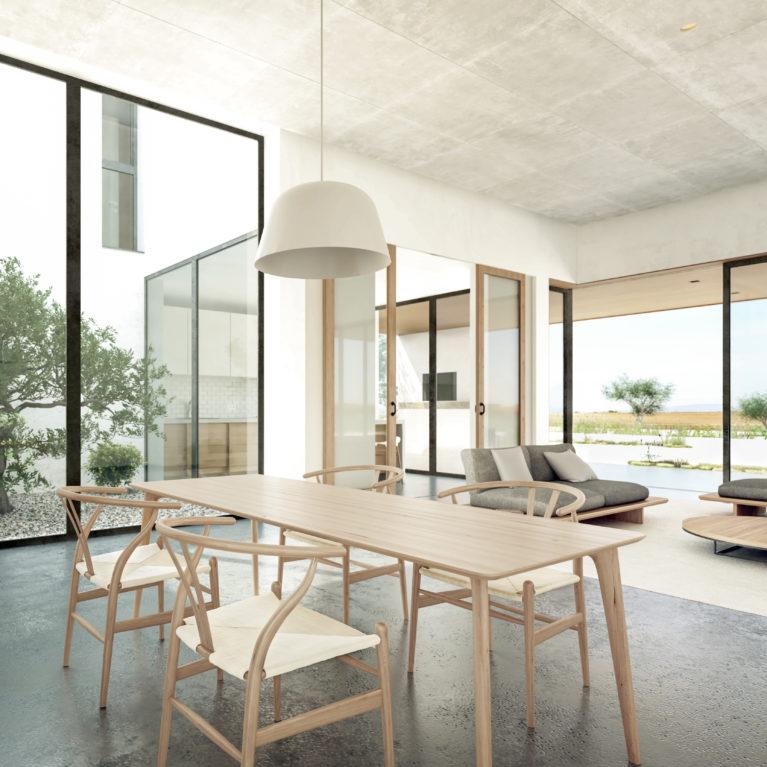 aqso arquitectos office, casa patio, olivar, salón, comerdor, espacio diáfano, suelo de hormigón, sillas de estilo asiático, luz y arquitectura, grandes ventanales, puertas correderas, paisaje de la sierra de Madrid
