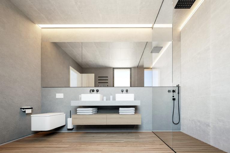 aqso arquitectos office, dormitorio principal, baño, sanitarios roca serie element, mueble de lavavo suspendido, plato de ducha de madera, luces integradas, suelo de madera, stuco marroquí