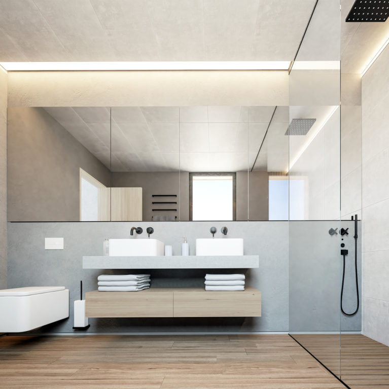 aqso arquitectos office, master bedroom, ensuite toilet, roca element series, suspended vanity unit, timber shower tray, recessed lighting, timber flooring, moroccan stucco