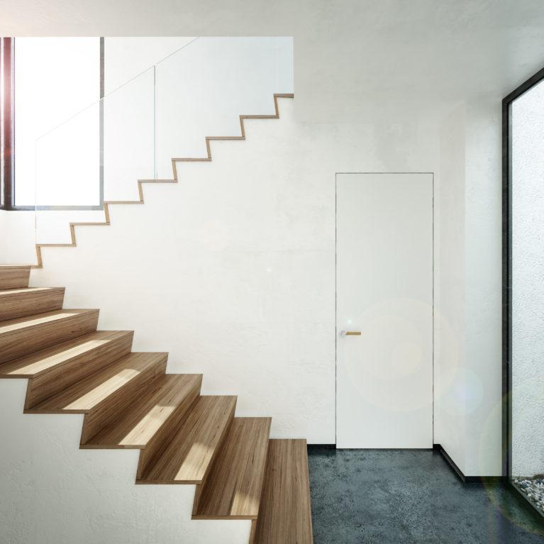 aqso arquitectos office, escaleras, suelo de madera, puerta mínima, puerta sin marco, patio, interior luminoso, disfrutar de las vistas mientras subes la escalera