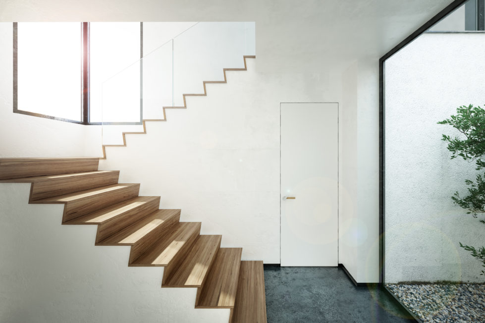 aqso arquitectos office, staircase, timber flooring, minimal door, frameless door, courtyard, luminous interior, enjoy the view while climbing the stairs