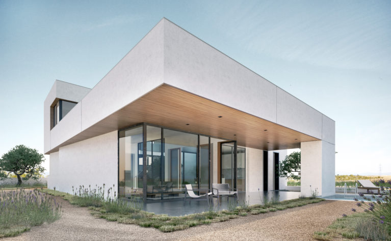 aqso arquitectos office, pedraza house, cantilever, timber lining, open living room, mediterranean garden, gravel, white render, iconic image, view point