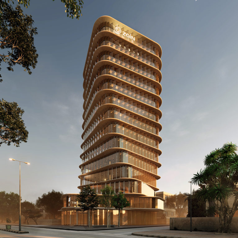 AQSO arquitectos office, this twisted tower becomes a landmark. The glass facade made of louvers reflect the morning sun