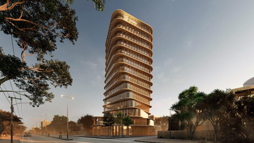 AQSO arquitectos office, esta torre retorcida se convierte en un hito del paisaje. La fachada de cristal hecha de lamas refleja el sol de la mañana