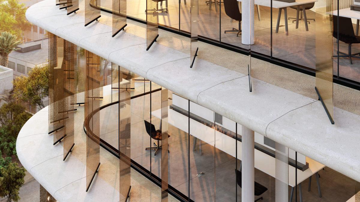 AQSO arquitectos office. Persianas verticales de vidrio para controlar el sombreado exterior. Sistema de soporte a medida en paneles de GRC.