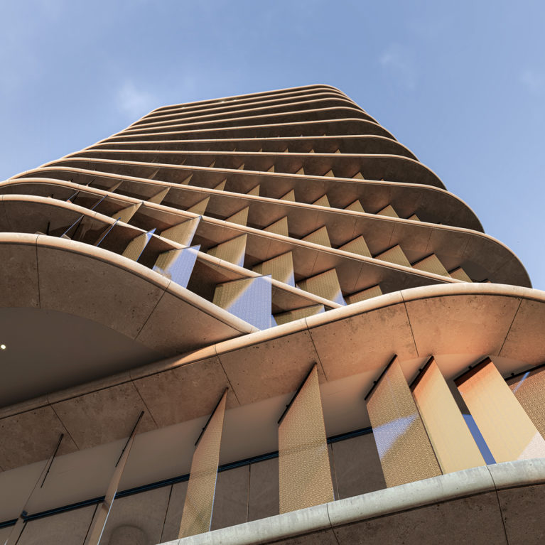 AQSO arquitectos office. Low angle of the tower where the rotation of the storeys create a twisted figure.