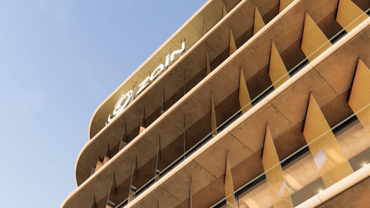 AQSO arquitectos office. Imagen del último piso de la torre, donde se aprecia el cartel luminoso con la marca de Zain.