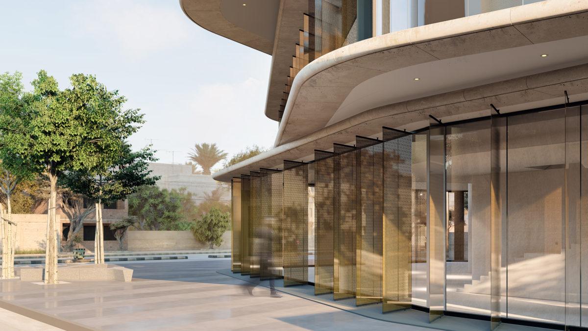 AQSO arquitectos office, la tienda insignia de Zain tiene un espacio de doble altura. La entrada está marcada a través de una serie de lamas que dan a un espacio público.