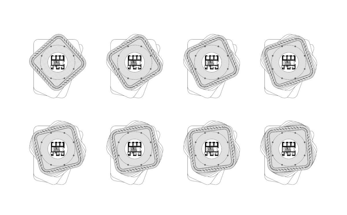 AQSO arquitectos office. Conjunto de plantas tipo de la torre. Respecto a la posición fija del núcleo de comunicación central, la planta gira en cada nivel.