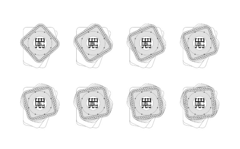 AQSO arquitectos office. Set of typical floor plans of the tower. With respect to the fixed position of the centra core, the plant rotates on each level.