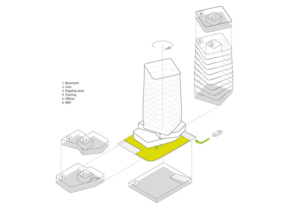 AQSO arquitectos office. Este dibujo en axonometría muestra las diferentes partes de la torre y los usos de cada piso.