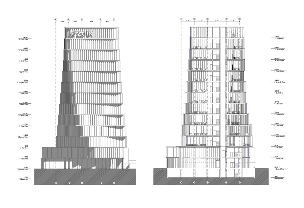 AQSO arquitectos office, dibujo técnico del alzado y la sección del edificio, donde se muestran los niveles, alturas y composición de la fachada.