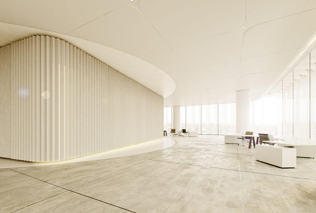 AQSO arquitectos office. Interior de la planta tipo, el núcleo central está revestido con paneles cerámicos verticales. El suelo es de hormigón pulido.