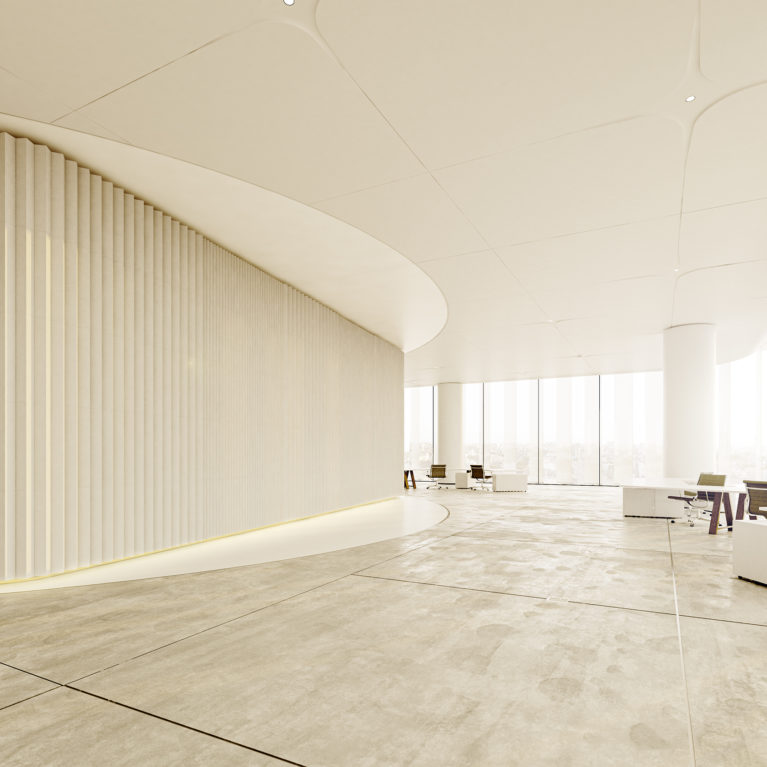 AQSO arquitectos office. Inside the typical plant, the central core is dressed with vertical ceramic panels. The floor is made of polished concrete.