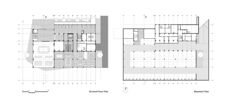 aqso arquitectos office. Space planning and layouts of the typical floor plans. The underground parking is covered with landscape. The extension has a new staircase.
