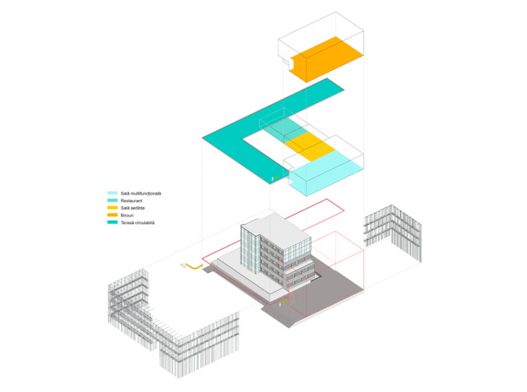aqso arquitectos office. Axonometric view of the existing building, the new facade and the extension. Different uses of the space, including the restaurant, the multifunctional room and the offices.