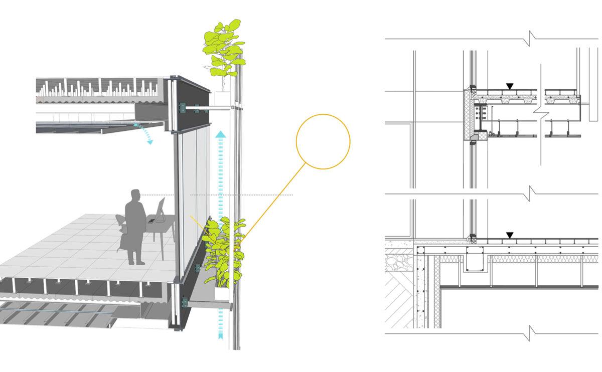 el detalle constructivo de la fachada