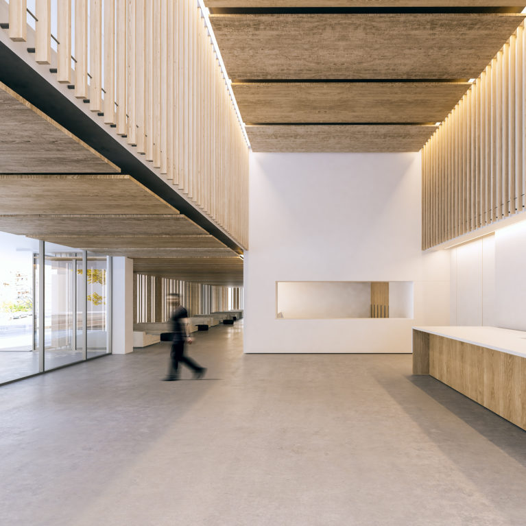 aqso arquitectos office, spacious entrance lobby of the public building. The timber slatting and white walls combine with concrete floors and glass walls. Modern reception desk.