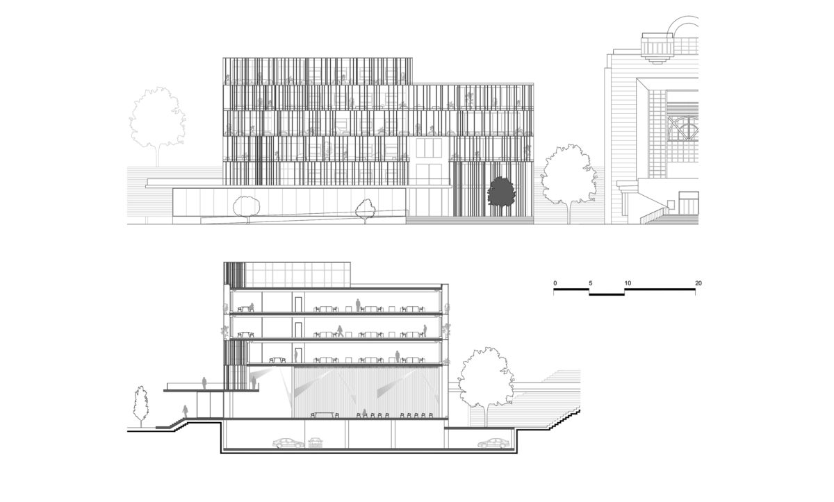 aqso arquitectos office, elevations and section of the new building extension for the Cluj Council. Transparent facade system and multifunctional room.