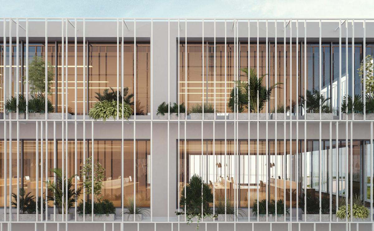 the louvered facade