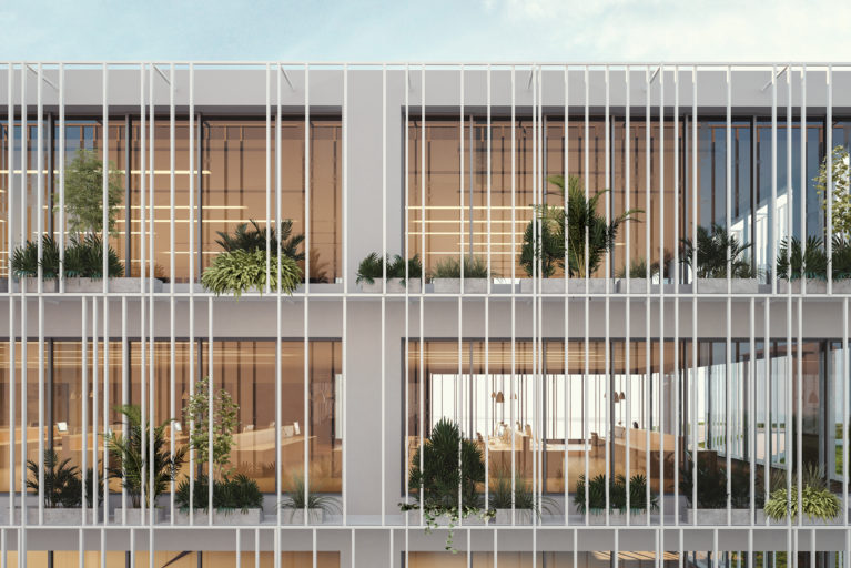 aqso arquitectos office. Detailed view of the facade system. The warm interior enjoys the vegetation and the sun protection of the facade, the planting requires low maintenance and looks great from outside.