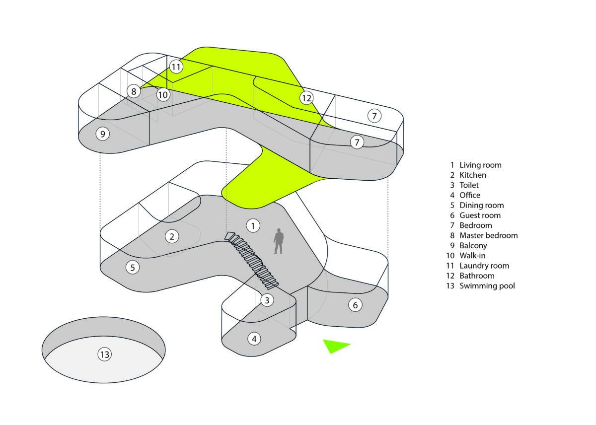 AQSO arquitectos office. Diagrama en axonometría que muestra el volumen del edificio y el uso del espacio.
