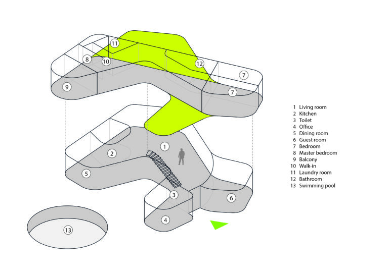 AQSO arquitectos office. Diagram in axonometry showing the volume of the building and the use of space.