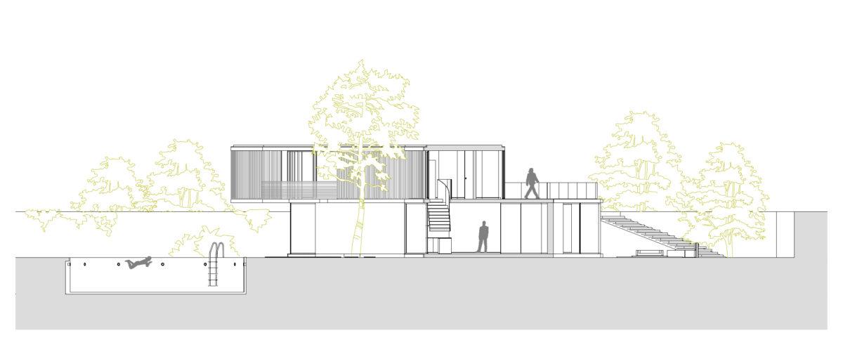 AQSO arquitectos office. La sección transversal muestra el terreno dividido en escalones de la terraza, la piscina y los niveles del suelo.