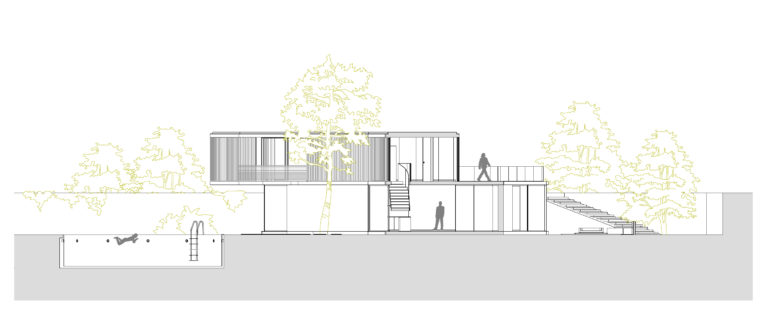 AQSO arquitectos office. The cross section shows the terrain divided in terrace steps, the swimming pool and the floor levels.