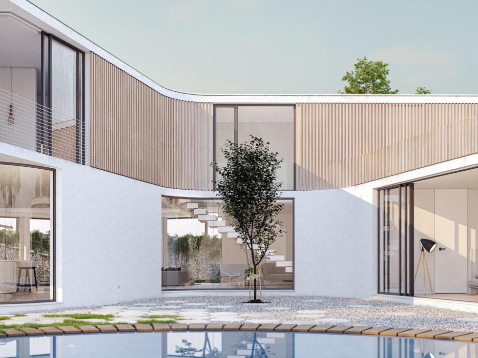 AQSO arquitectos office. El patio de la vivienda se abre hacia la piscina. Las grandes ventanas comparten la vista del árbol central.