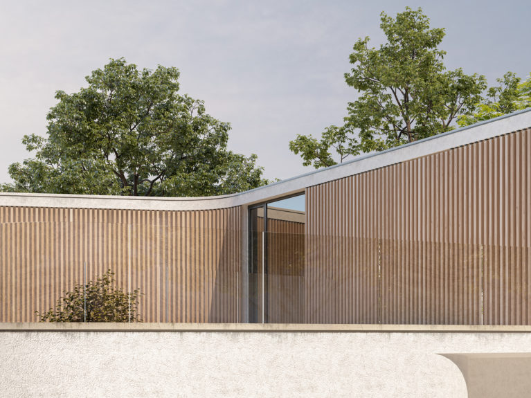 AQSO arquitectos office. Curved facade of wooden slats, with vegetation in the background.
