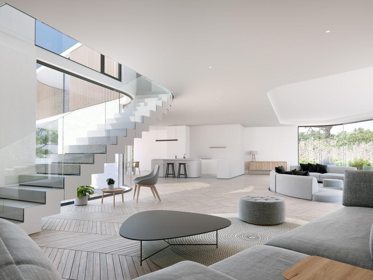 AQSO arquitectos office. La planta baja es un espacio diáfano con vistas al patio, atravesado por una losa de escalera de un solo tramo.