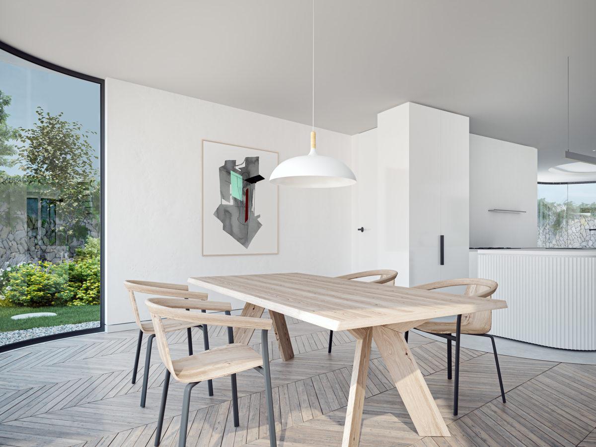 AQSO arquitectos office. La zona de comedor, orientada hacia el este, recibe la luz de la mañana. Es un espacio diáfano y amplio con vistas al jardín.