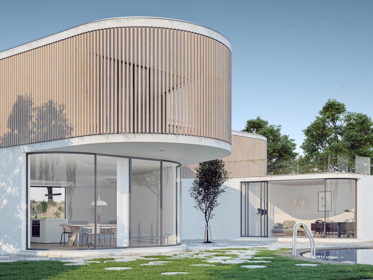 AQSO arquitectos office. La vivienda presenta un aspecto modernista, con grandes ventanales y una fachada de listones de madera en la planta superior.