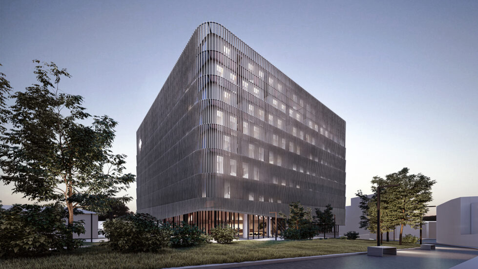 AQSO arquitectos office. The louvred facade works as a double skin wrapping the hospital, the facade behind shows a checkered pattern of openings.