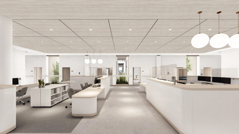 AQSO arquitectos office. The open plan of the nurse's station enjoys the view of the green courtyards and has easy access to all the patient's rooms around.
