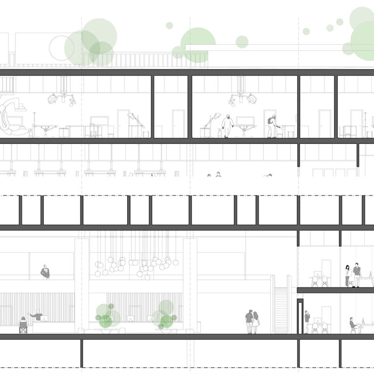 AQSO arquitectos office. Detailed section of the hospital showing the entrance lobby in the ground floor and the operation rooms on the top floor.
