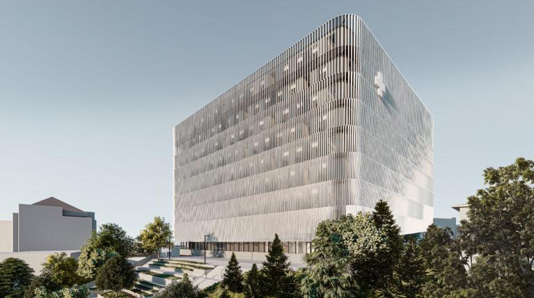 AQSO arquitectos office. La fachada del centro de trasplantes es una preciosa piel que cambia con la luz y las sombras. El efecto moiré proporciona un aspecto dinámico.