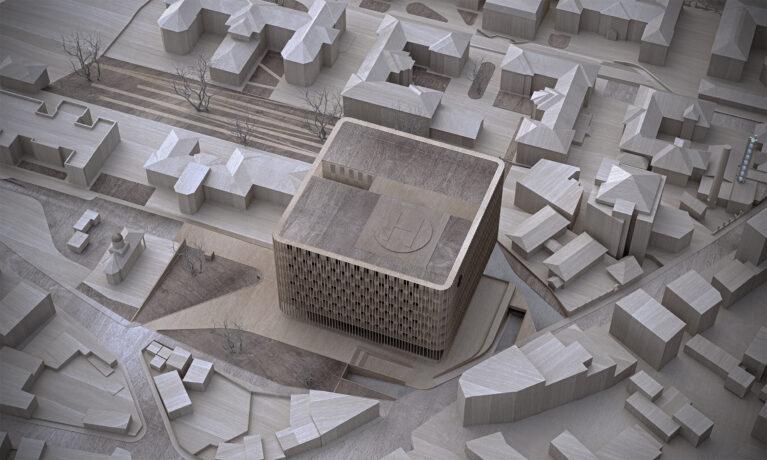 AQSO arquitectos office. La maqueta muestra el nuevo edificio dentro del contexto urbano y el paisaje que conecta con el parque.