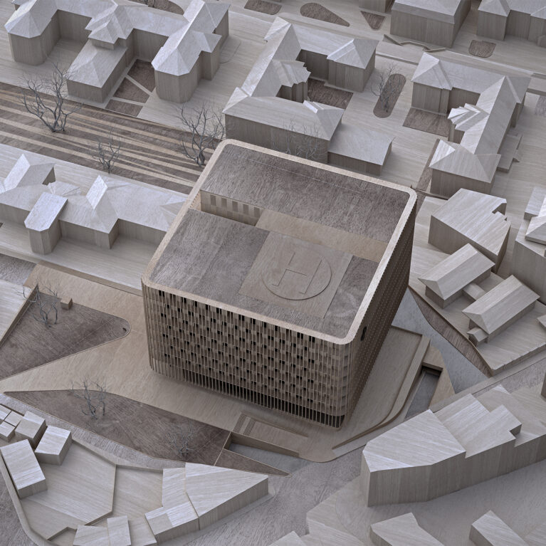 AQSO arquitectos office. The physical model shows the new building within the urban context and the landscape connecting with the park.